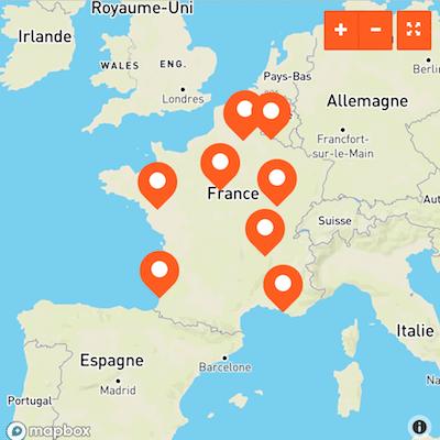 carte de France de l'annuaire pour les professionnels de l'activité physique adaptée