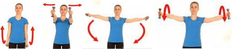 Exercice de renforcement musculaire : élévation des bras avec flexion sur le côté