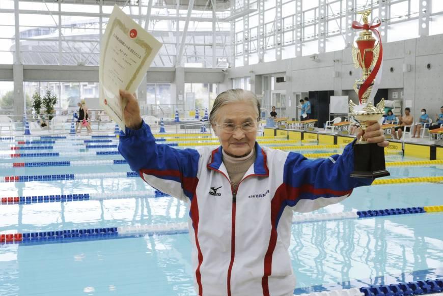 Mieko Nagaoka, record du monde de 1500 mètres en natation