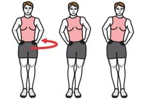 exercice de rotation du bassin pour s'échauffer